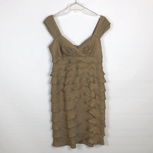 London Times Shimmery Brown Tiered Cocktail Dress